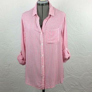 Velvet Heart pink pinstriped button down shirt-L